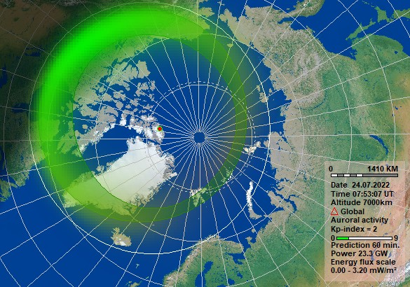 The graphic is belongs to NOSWE  and is made with software and data obtained from  KHO. This map shows the expected aurora within the four hours.
