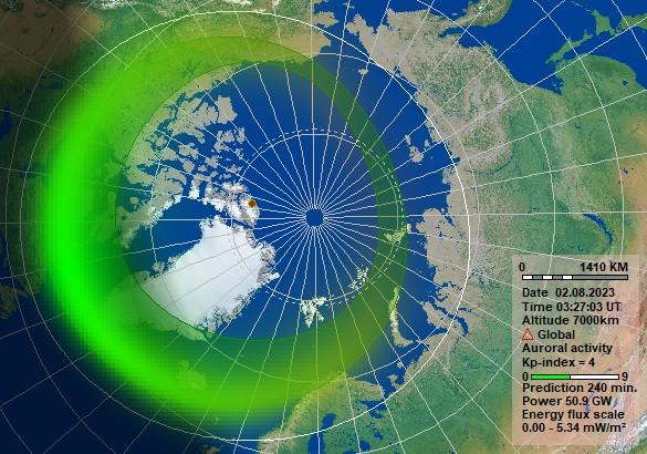 Grafikken er hentet fra NOSWE som er laget med programvare og data hentet fra KHO. Her kan du se hvordan nordlyset er forventet å bli en time frem i tid. Nordlysvarsel